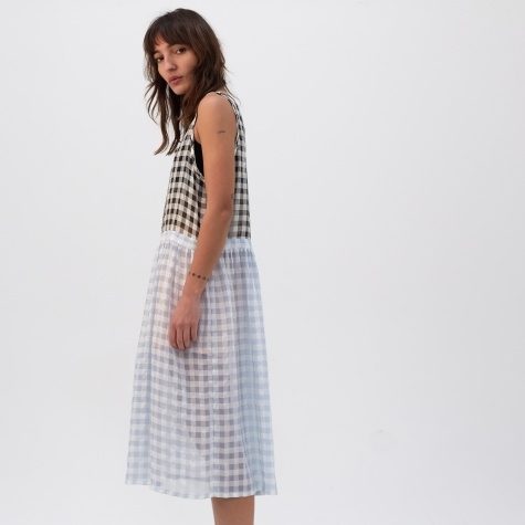 Picnic Dress - Ecru/Black + White/Baby Blue