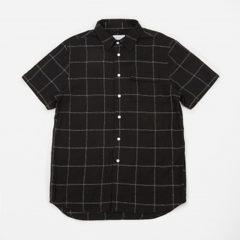 Laszlo S/S Window Check Shirt - Black