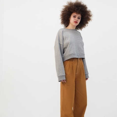 Cropped Sweater - Heather Grey