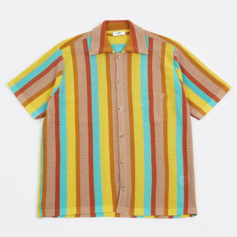 Wes Knitted Short Sleeve Shirt - Multi Stripe