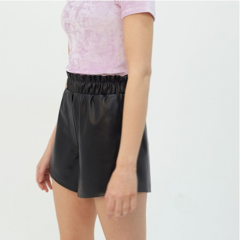 Lora Vegan Leather Shorts - Black