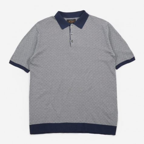 Knitted Jacquard Polo Top - Navy