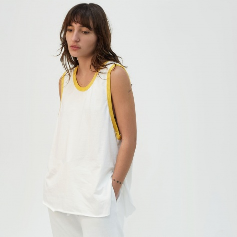 Ringer Vest Top - White/Yellow