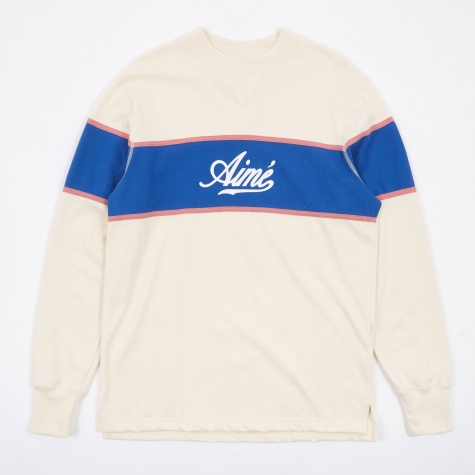 Rugby Crewneck Sweatshirt - Natural/Dusty Pink