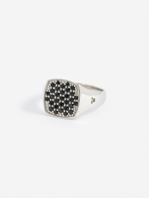 Mini Cushion Ring - Silver/Black Spinel