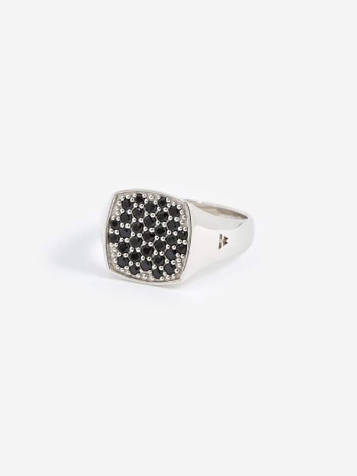Tom Wood Mini Cushion Ring - Silver/Black Spinel (Image 1)