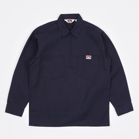 Long Sleeve Half Zip Work Shirt - Navy