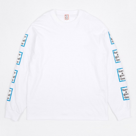 Arm Blue Frame Long Sleeve T-Shirt - White