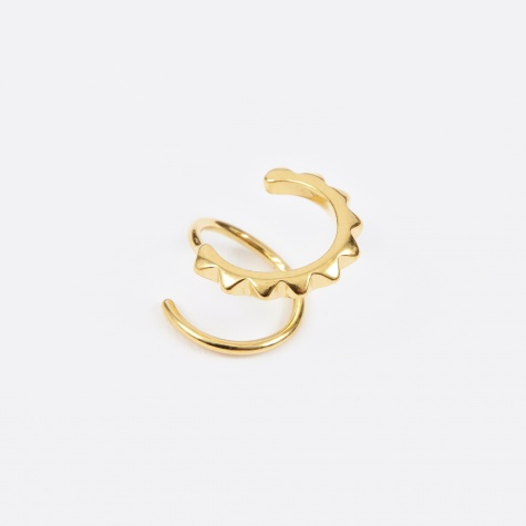 Klaxon Twirl Left Earring - Polished Gold 14K