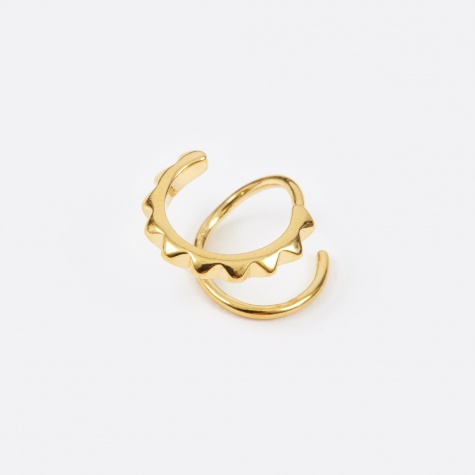Klaxon Twirl Right Earring - Polished Gold 14K