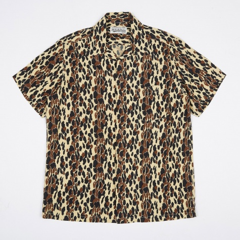 Leopard Hawaiian Shirt - Yellow/Beige