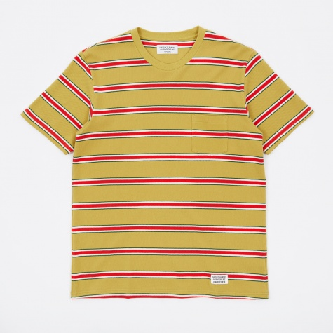 Striped Crew Neck T-Shirt (Type 1) - Mustard/Red
