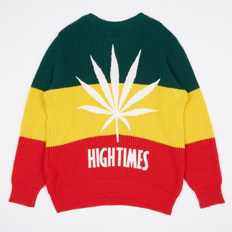 x High Times Rasta Striped Crew Neck Sweater