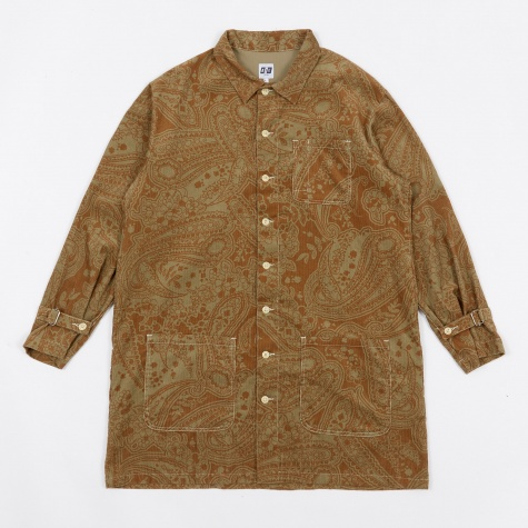 Strap Long Floral Printed Shirt - Khaki