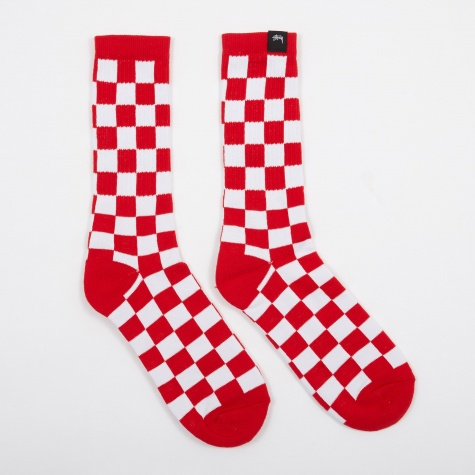 Checker Socks - Red/White