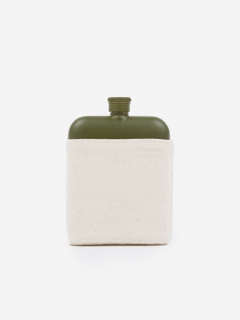 6oz Hip Flask With Canvas Carrier - Army