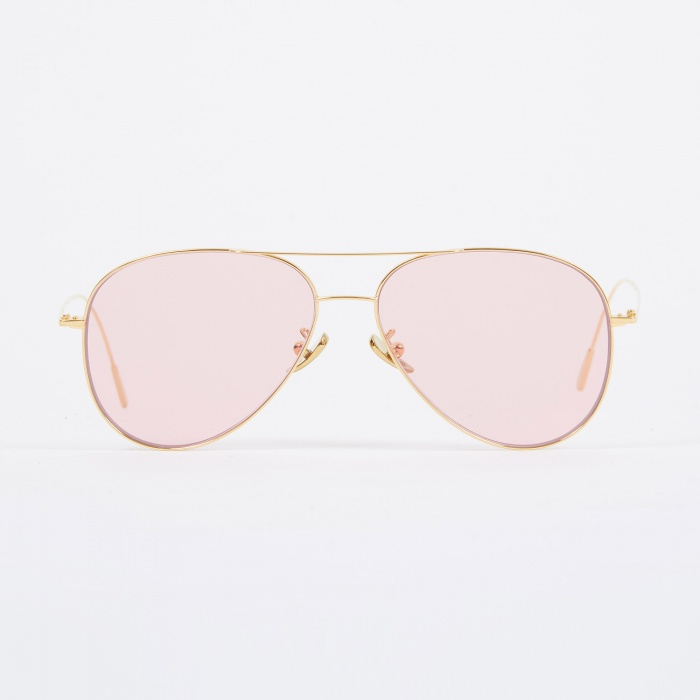 Cutler and Gross 1266 Sunglasses - Gold Plated/Pale Pink (Image 1)