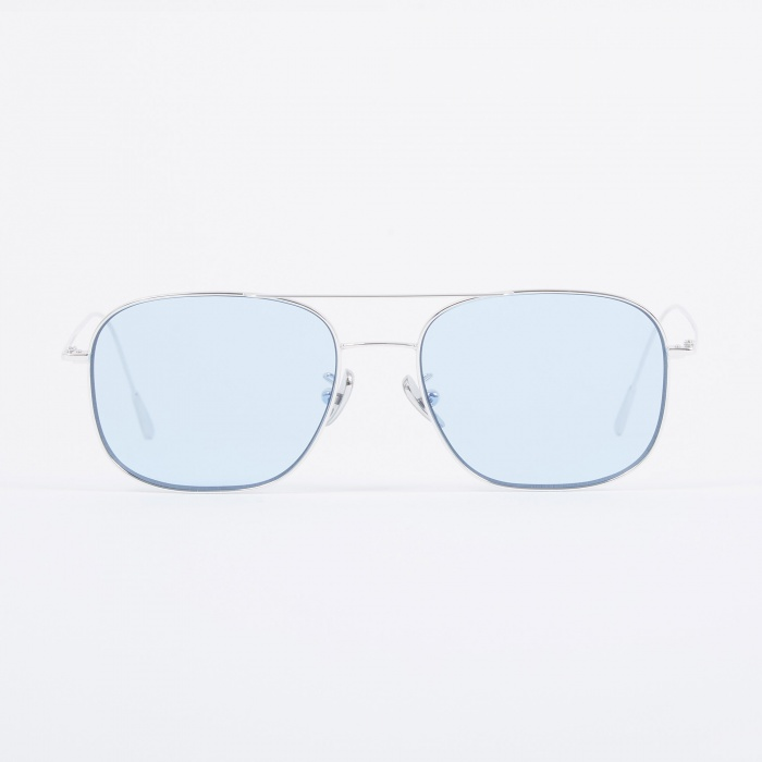 Cutler and Gross 1267 Sunglasses - Palladium Plated/Pale Blue (Image 1)