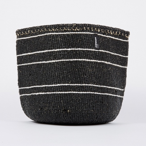 Kiondo Basket Medium - 5 Stripes Black & White