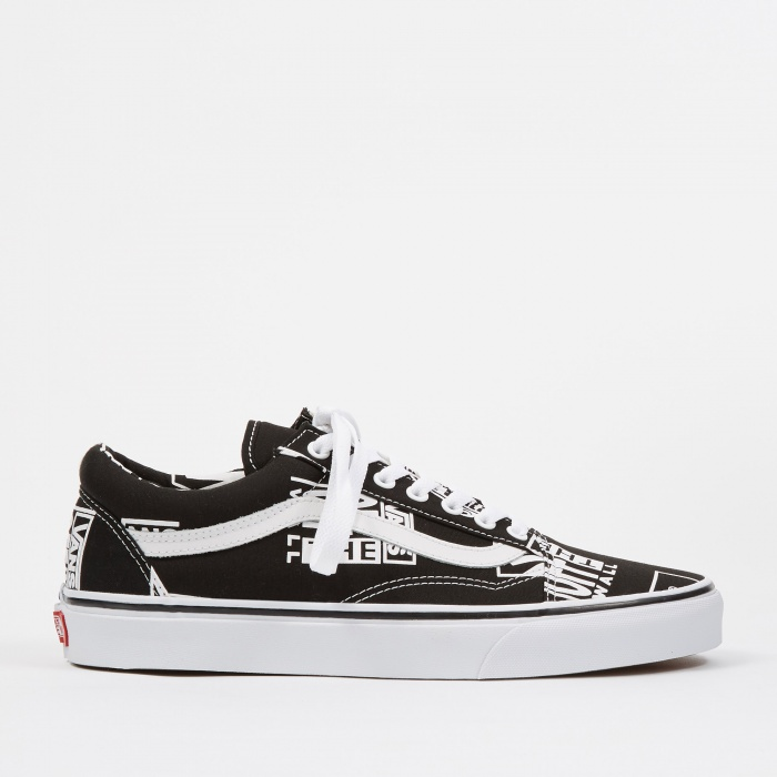 Vans UA Old Skool - (Logo Mix) Black/True White (Image 1)
