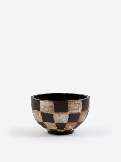 Medium Incense Bowl - Dark Brown Outside Check