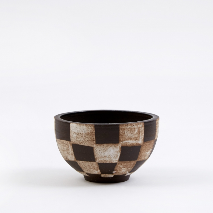 Mellow Medium Incense Bowl - Dark Brown Outside Check (Image 1)