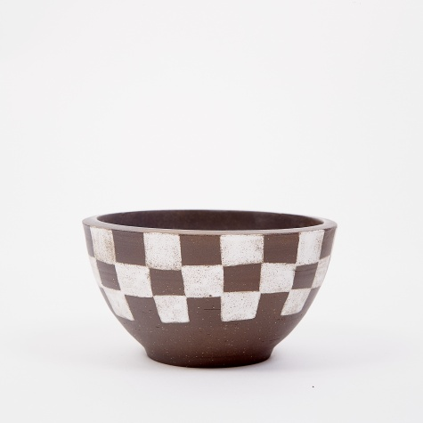 Large Incense Bowl - Half Painted Dark Brown Check