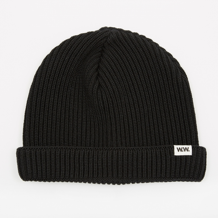 Wood Wood Daci Ribbed Beanie - Black (Image 1)