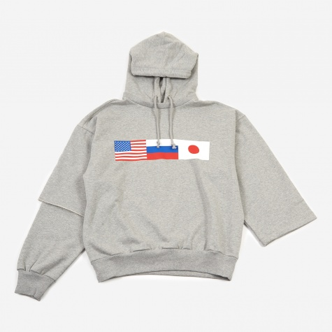 Double Sleeve Hooded Sweatshirt - Grey