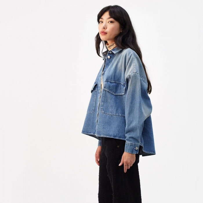 MM6 Maison Margiela Indigo Shirt Jacket - Light Garage (Image 1)
