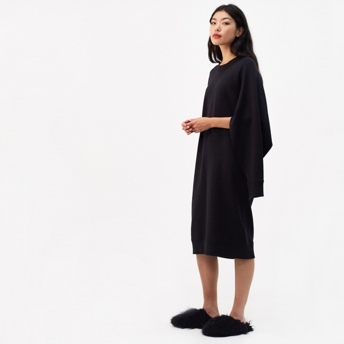 MM6 Maison Margiela Basic Long Split Sleeve Sweatshirt Dress (Image 1)