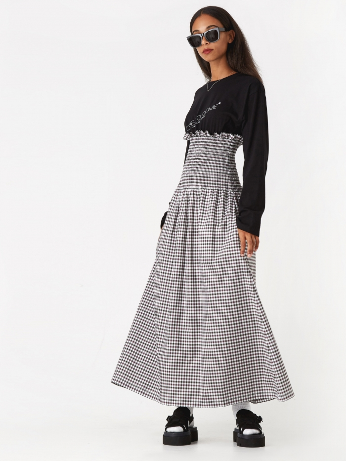 MM6 Maison Margiela Poplin Checkered Long Dress - Check/Black (Image 1)