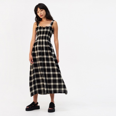 Wool Gauze Checkered Dress - Black/White
