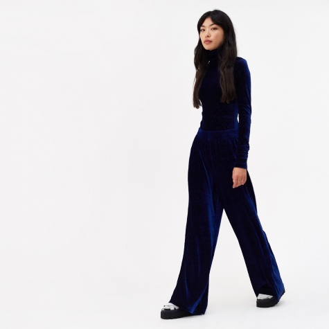 Smocking Velvet Jersey Trouser - Blue