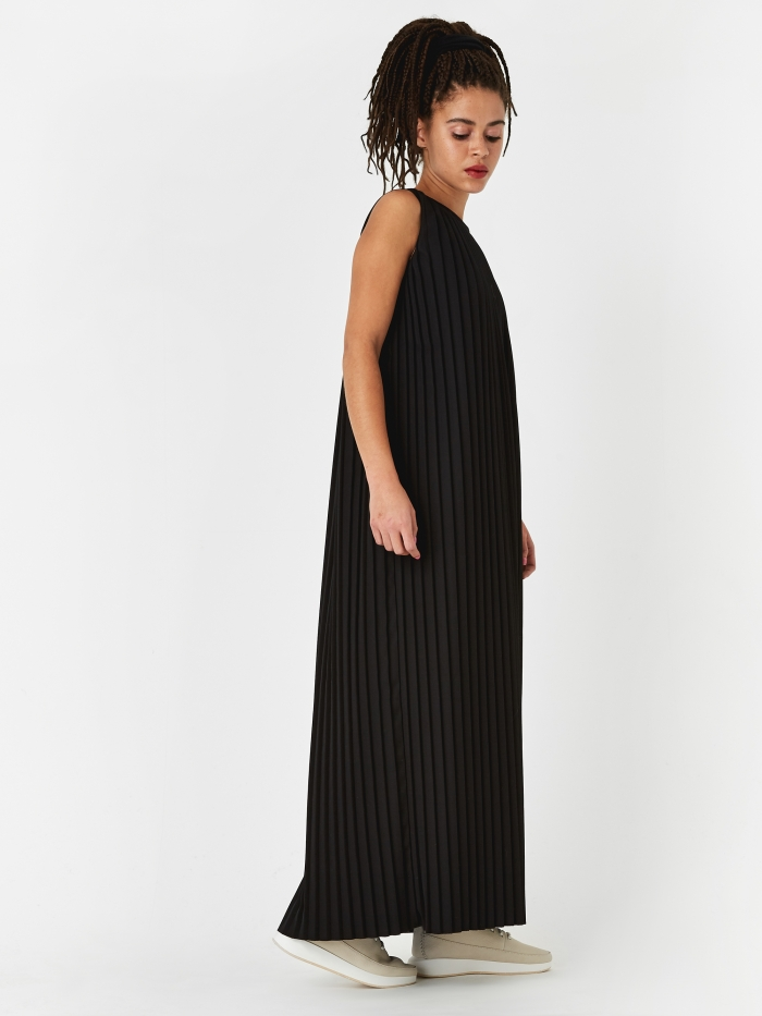 MM6 Maison Margiela Pleated Midi Dress - Black (Image 1)