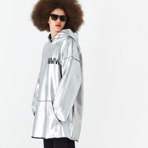 Oversized Hooded Sweatshirt - Silver