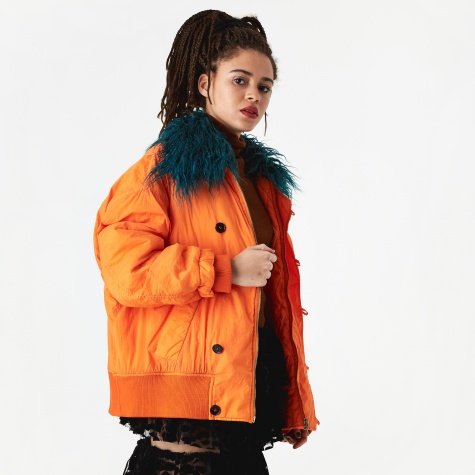 Fur Trim Bomber - Orange