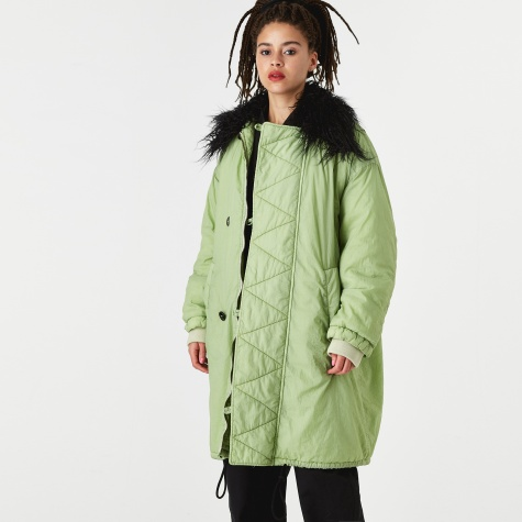 Fur Trim Long Line Bomber - Pine