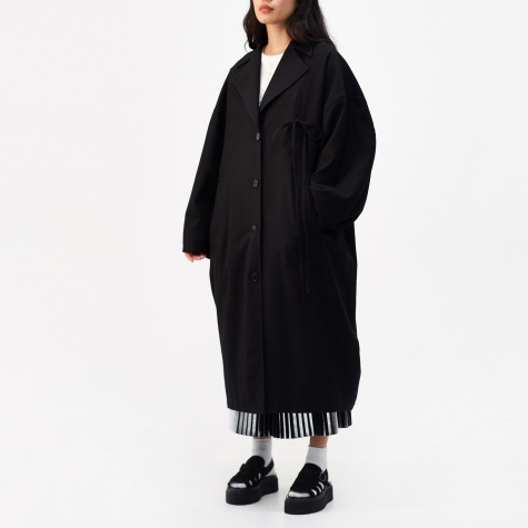 Tie Detail Coat - Black