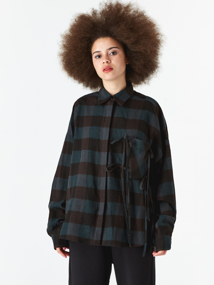 MM6 Maison Margiela Tie Detail Shirt - Black/Green (Image 1)
