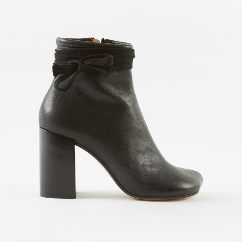 Tie Detail Ankle Boots - Black