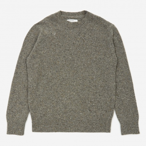 Loose Crewneck Lambswool Jumper - Fleck Grey
