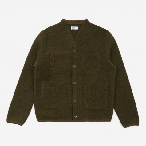 Wool Fleece Cardigan - Olive