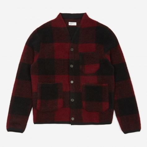 Wool Fleece Cardigan - Red Check
