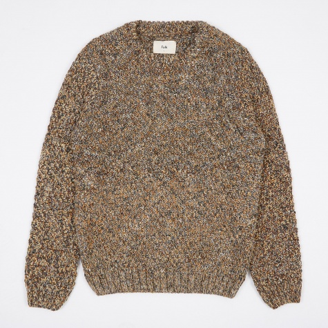 Mixed Yarn Crewneck Jumper - Caramel Mix