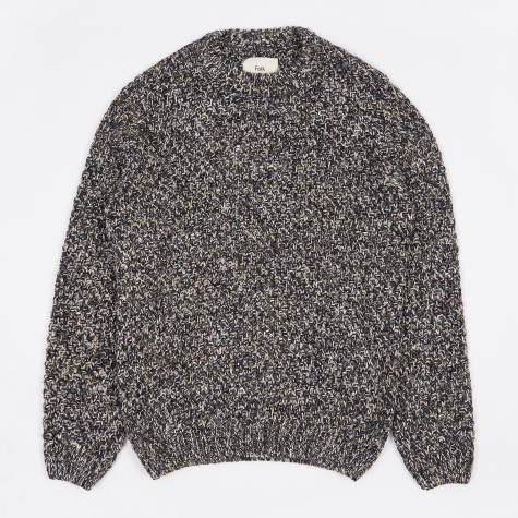 Mixed Yarn Crewneck Jumper - Navy Mix