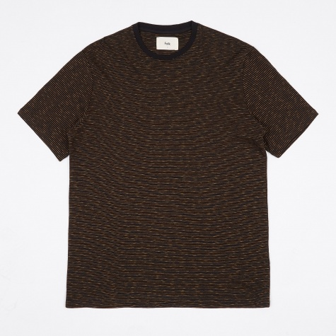 Fine Stripe T-Shirt - Black/Caramel