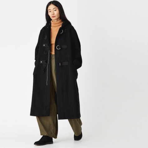 Hooded Military Long Coat - Black