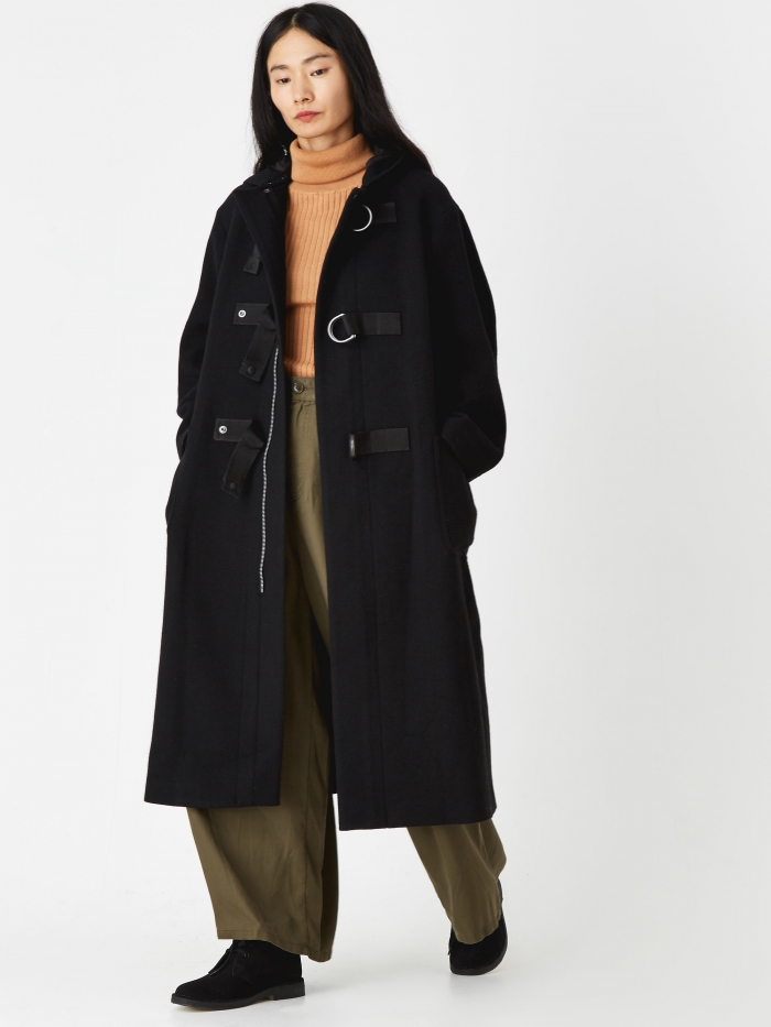 Zucca Hooded Military Long Coat - Black (Image 1)