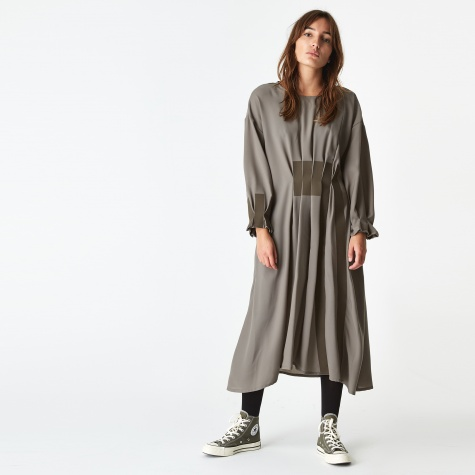 Pleated Midi Dress - Khaki